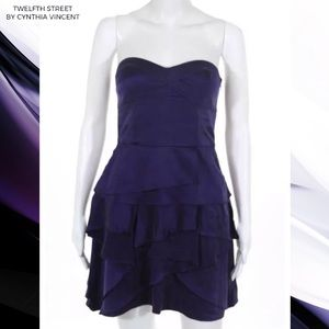 CYNTHIA VINCENT Purple Ruffle Silk Strapless Dress